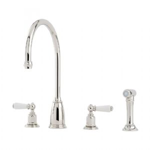 4376 Perrin & Rowe Athenian Four Hole Sink Mixer Tap Lever Handles & Rinse